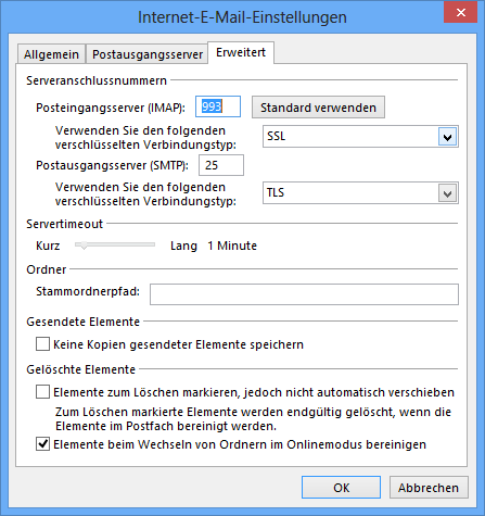 IMAP Konfiguration in Outlook 2013
