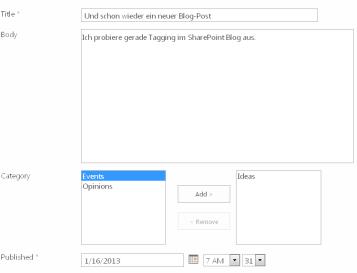 Bearbeiten eines Blog-Artikel