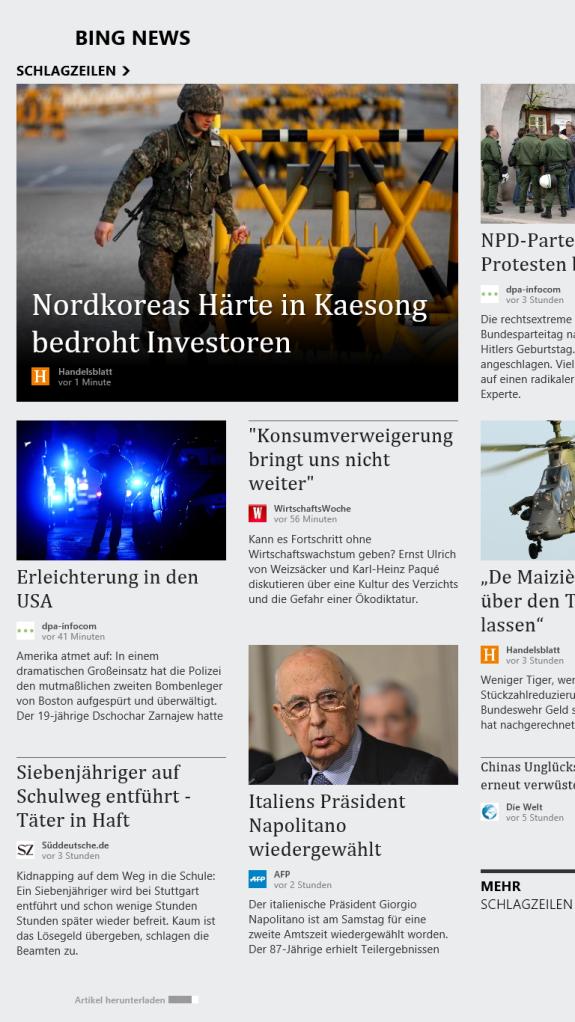 Die Bing News App im Hochformat