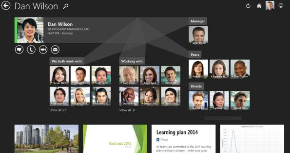 Das Netzwerk eines Kollegen in der öffentlichen Ansicht in der Windows 8.1 App