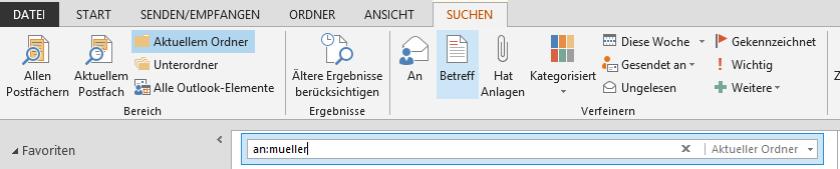 Symbolleiste für Suche in Outlook 2013