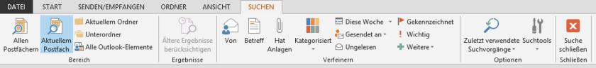 Symbolleiste der Suche in Outlook 2013