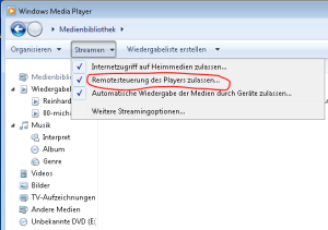 Streaming-Einstellungen im Windows Media Player