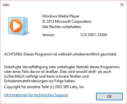 Info Dialog des Windows Media Player