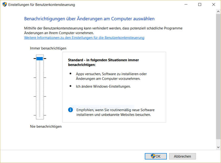 UAC Konfiguration in Windows 10