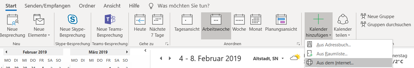 Outlook Symbolleiste in der Kalenderansicht